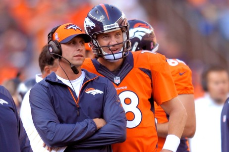 CORRECTS FIRST NAME FOR GASE TO ADAM, INSTEAD OF RICK - In this Oct. 13, 2013, photo, Denver Broncos quarterback Peyton Manning and offensive coordinator Adam Gase look at the scoreboard during an NFL football game against the Jacksonville Jaguars in Denver. John Elway, the Broncos' executive vice president, has high praise of Gase, whom he called
